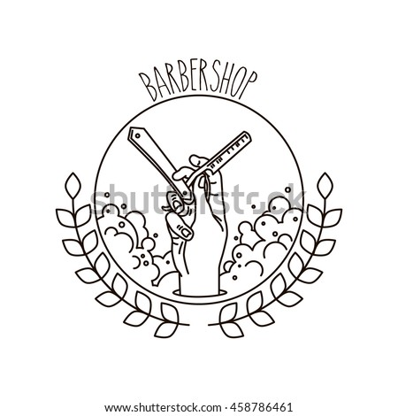 Logo for barbershop, hairdresser, beauty salon. Hand with a razor, foam and branches. Vector illustration - stock vector
