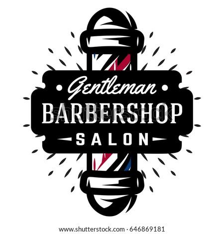 Set Templates Barbershop Barbershop Logos Vector Stock