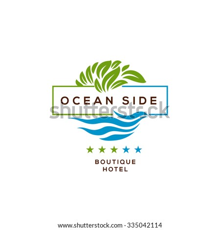 Logo boutique hotel ocean view resort stock vector for Boutique hotel logo