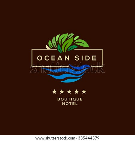 Logo for boutique hotel, ocean view resort, logo design, vector illustration. - stock vector