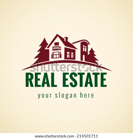Logo for cottage town or suburban real estate agency. Real estate logo forest. - stock vector