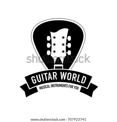 Logo For Musical Instruments Shop Store Record Studio Label Guitar Neck Silhouette