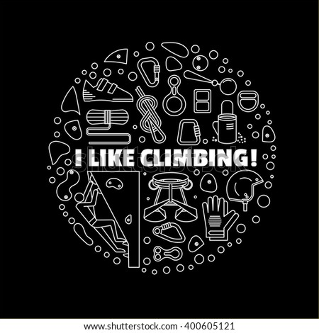 Logo for shirts. Black-and-white circular logo with a picture climbing equipment. Made in a linear style. - stock vector