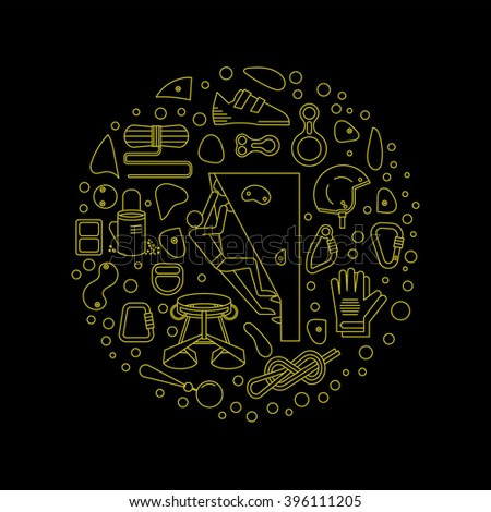Logo for shirts.Equipment for climbing.Round emblem made in a linear style. - stock vector