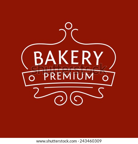 Logo for the bakery on red-brown background. The stylized image of a cake on a tray. Cakes, biscuits, bread. - stock vector