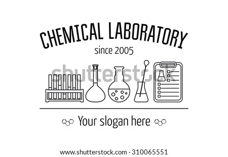 Logo for the chemical, medical, research laboratories, businesses, industries and products. Isolated image. Vector template. Vector illustration - stock vector