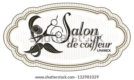 Logo for unisex hairdressing shop. With a lock of hair, mustache and professional scissors. To sign or business card - stock vector