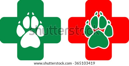 Logo for veterinary clinic in the vector. White and green animal paws print on a red and green cross - stock vector