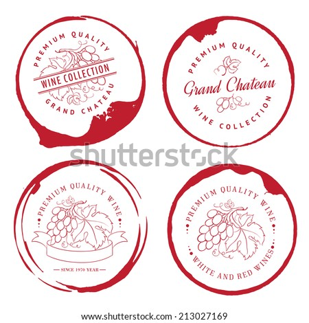 Logo for wine with grapes. Vector illustration. - stock vector