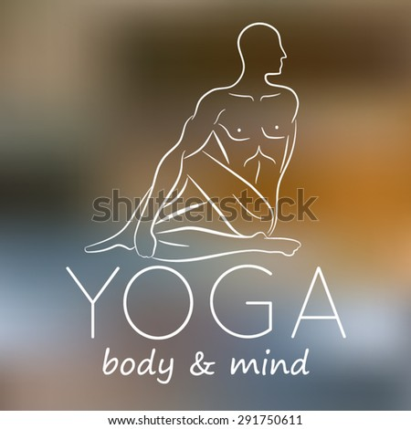 Logo for yoga studio.Yoga meditation logo. Vector yoga illustration. Yoga sticker. Fitness center. Yoga class. Yoga label - stock vector
