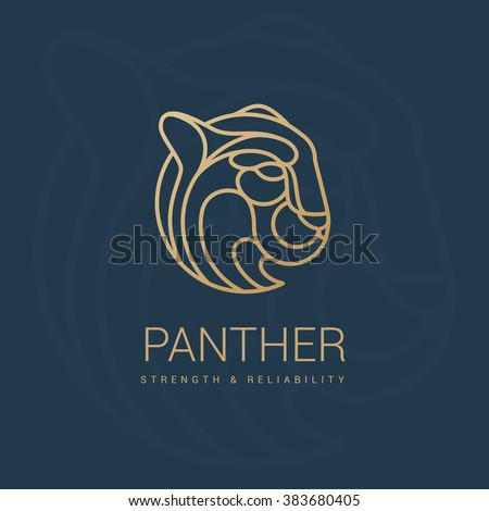 Logo gold puma. Royal emblem store. Symbol of protection and luxury.