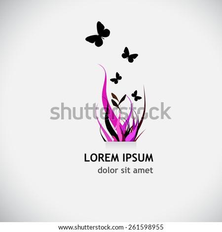 Logo grass with butterflies. Vector - stock vector