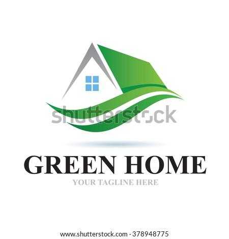 Logo Green Home Icon Element Template Design Logos - stock vector