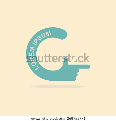 logo hand. Letter C. Pointing gesture hands - stock vector