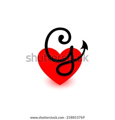 heart letter j beautiful vector love stock vector