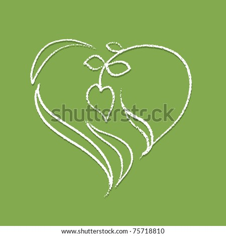Logo - heart shaped plant (white naturally looking outline) - stock vector