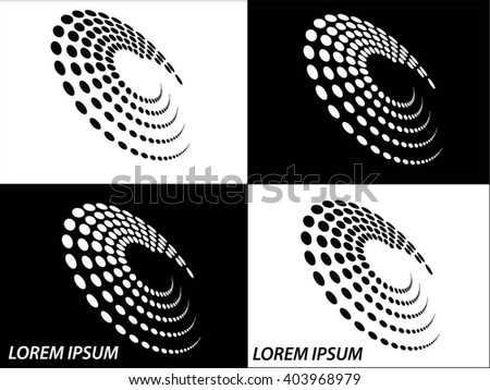 Logo icon design and Business cards set. Black and white symbol background
