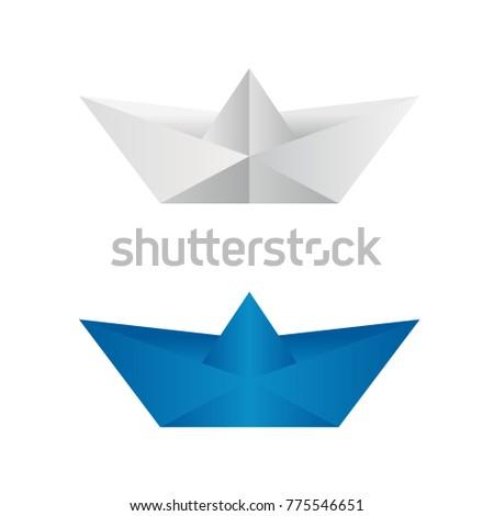 Logo Icon Origami Boat Vector Illustration