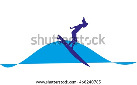 logo illustration of  surfer on a wave