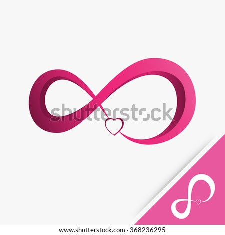 Logo infinity with heart love on white background Vector illustration - stock vector