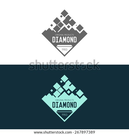 Logo inspiration with jewels and diamonds, for shops, companies or other business or advertising. Vector Illustration, graphic elements editable for design.  - stock vector