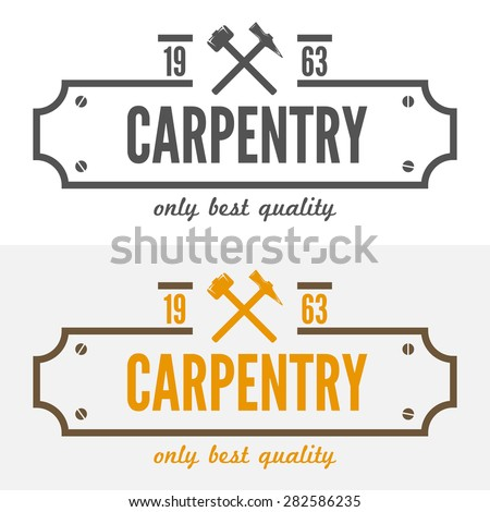 Logo, labels, badges and logotype elements for sawmill, carpentry and woodworkers - stock vector