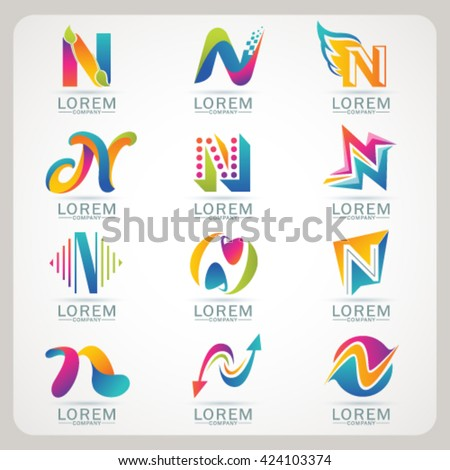Logo Letter N Element Abstract Web Stock Vector Hd Royalty Free
