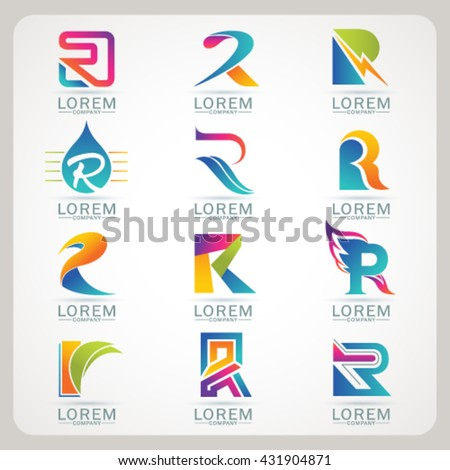 Logo letter R element and Abstract web Icon and globe vector symbol. Unusual sign icon and sticker set. Graphic design easy editable for Your design. Modern logotype icon. - stock vector