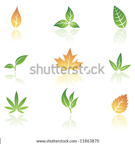 Logo like Leaves isolated on a white background - stock vector