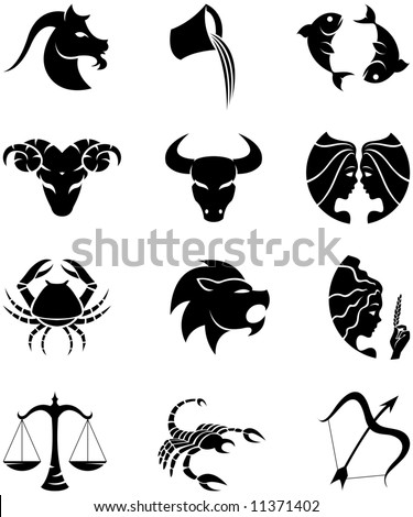 Logo-like Zodiac Star Signs isolated on a white background - stock vector