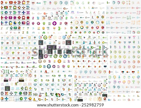 Logo mega collection, abstract geometric business icon set - stock vector