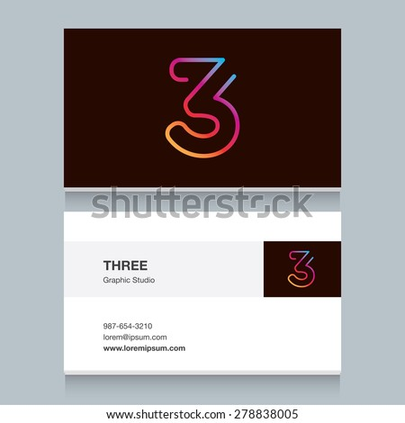 "Logo number three ""3"", with business card template. Vector design fully editable.  - stock vector"