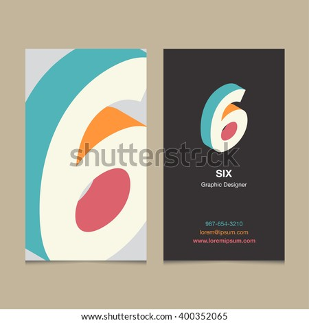 "Logo number ""6"", with business card template. Vector graphic design elements for company logo. - stock vector"