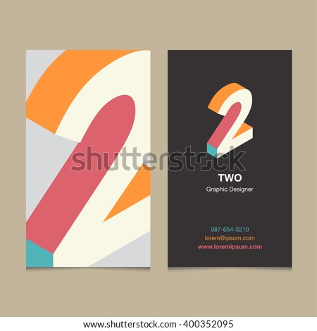 "Logo number ""2"", with business card template. Vector graphic design elements for company logo. - stock vector"