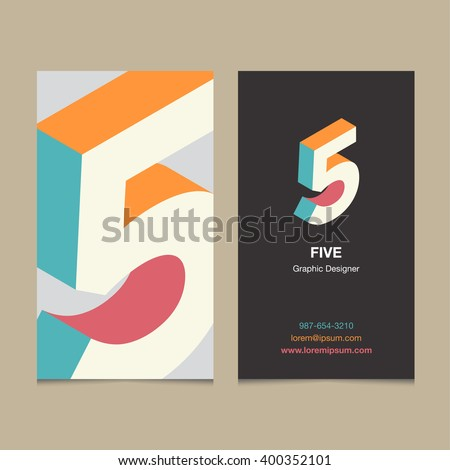 "Logo number ""5"", with business card template. Vector graphic design elements for company logo. - stock vector"