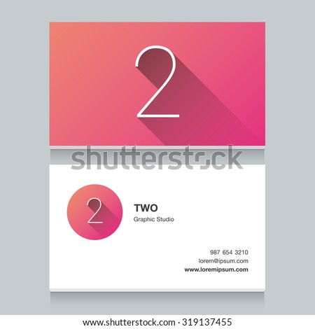 """Logo number """"2"""", with business card template. Vector graphic design elements for your company logo. - stock vector"""