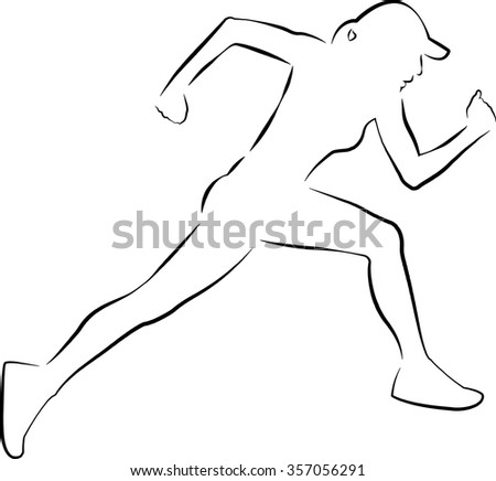 Logo of a woman running very fast - stock vector
