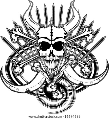 logo of beast pirate skull bones and death scythes spikes swirls and oval vector illustration