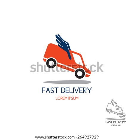 Logo of fast delivery. Concept of logo transport company in the form of the minibus with wings in flight. Color and black-and-white options. - stock vector