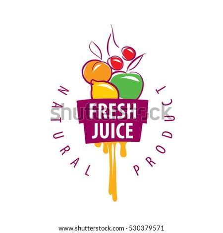 Stock Vector Logo Of Fresh Juice Natural Fruit Retro
