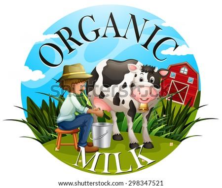Logo of organic milk with a farmer milking a cow - stock vector