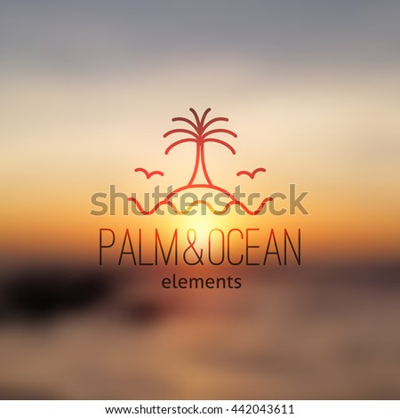 logo of palm on island and waves, vector template for travel agency - stock vector