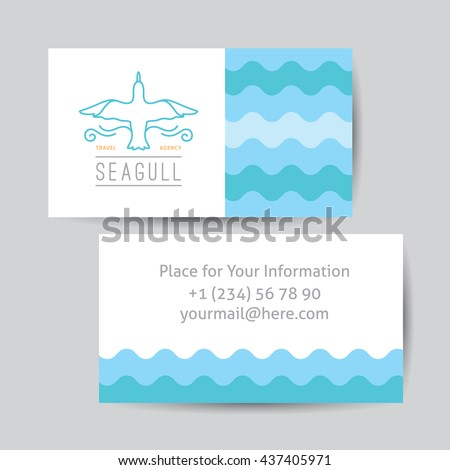 logo of seagull and waves, vector template of business card for travel agency - stock vector
