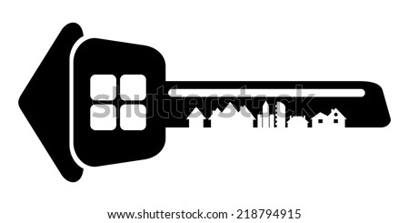 Logo of the builder, house key isolated on white background. Silhouette of the city's architecture. Vector illustration.  - stock vector