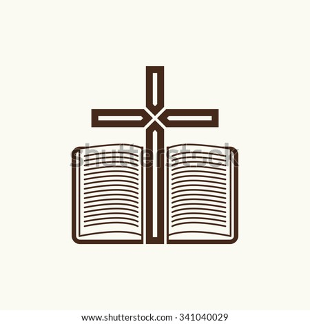 Logo of the church. The Cross and the open Bible. - stock vector