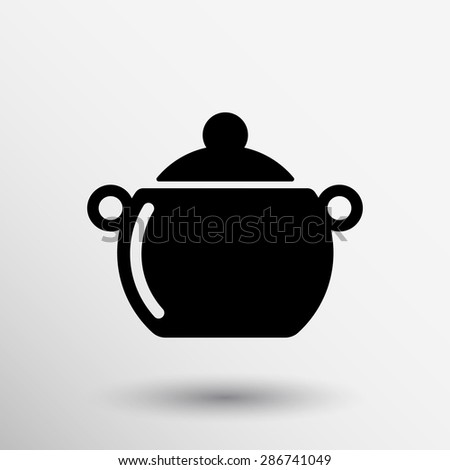 Logo of the pan with steam. Vector image. - stock vector
