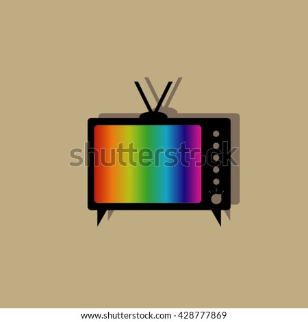 Logo of the retro TV with tuning colorful table - stock vector