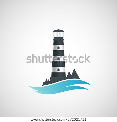 Logo old lighthouse. Vector image. - stock vector