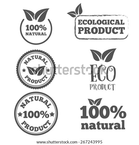 Logo or badge, label, logotype elements with leafs for web, business or natural products - stock vector
