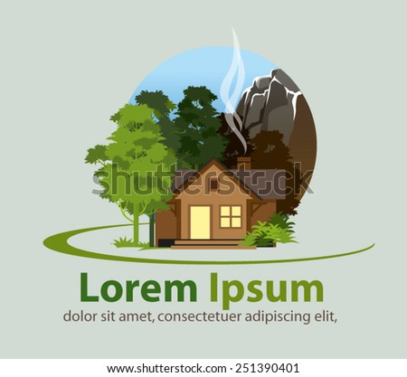 logo or icon for log cabin property - stock vector